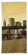 New York Downtown Manhattan Skyline - Yellow Panorama Bath Towel