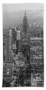 New York Skyline Panorama Bw Bath Towel