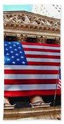 New York Stock Exchange With Us Flag Bath Towel
