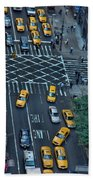New York Taxi Rush Hour Bath Towel