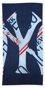 New York Yankees Baseball Team Vintage Logo Recycled Ny License Plate Art Hand Towel