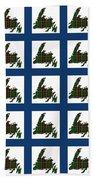 Newfoundland Tartan Map Blocks Blue Trim Bath Towel