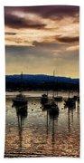 Newport Harbor At Dusk Bath Towel