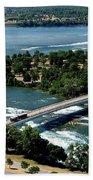 Niagara River And Goat Island Aerial View Bath Towel