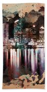 Night City Reflections Watercolor Painting Bath Towel