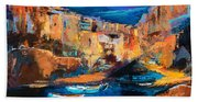 Night Colors Over Riomaggiore - Cinque Terre Bath Towel