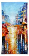 Night Umbrellas - Palette Knife Oil Painting On Canvas By Leonid Afremov Bath Towel