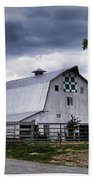 Nine Patch Quilt Barn Hand Towel by Cricket Hackmann