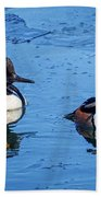 Male Hooded Merganser Pair Bath Towel