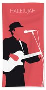No042 My Leonard Cohen Minimal Music Bath Towel by Chungkong Art