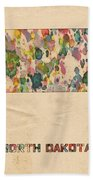 North Dakota Map Vintage Watercolor Bath Towel