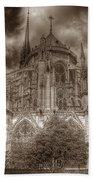 Notre Dame From East Garden Bath Towel