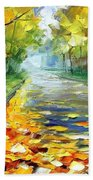 November Alley - Palette Knife Landscape Autumn Alley Oil Painting On Canvas By Leonid Afremov - Siz Bath Towel