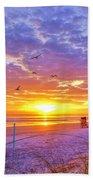 Nsb Lifeguard Station Sunrise Bath Towel