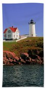 Nubble Lighthouse-cape Neddick Bath Towel