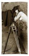 Nude In High Heel Shoes With Studio Camera Circa 1920 Bath Towel