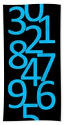 Numbers In Blue And Black Bath Towel