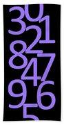 Numbers In Purple And Black Bath Towel