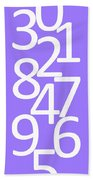 Numbers In White And Purple Bath Towel