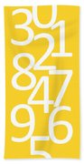 Numbers In Yellow And White Bath Towel
