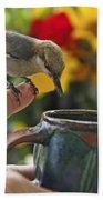 Nuthatch Bird On Finger Photo Bath Towel