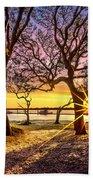 Oak Trees At Sunrise Bath Towel