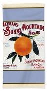 Oatmans Sunny Mountain Brand Oranges Vertical Bath Towel