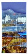 Ocean City Maryland At Night - Blue Bath Towel