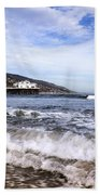 Ocean Waves Blue Sky And A Surfer At Malibu Beach Pier Bath Towel
