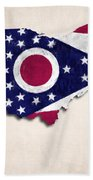 Ohio Map Art With Flag Design Bath Towel