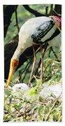 Oil Painting - Mama Stork Feeding Young Bath Towel