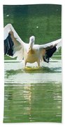 Oil Painting - Pelican Flapping Its Wings Bath Towel