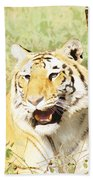 Oil Painting - An Alert Tiger Bath Towel