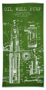 Oil Well Pump Patent From 1912 - Green Bath Towel