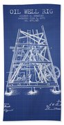 Oil Well Rig Patent From 1893 - Blueprint Bath Towel