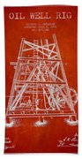 Oil Well Rig Patent From 1893 - Red Bath Towel