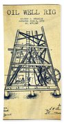 Oil Well Rig Patent From 1893 - Vintage Bath Towel