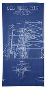 Oil Well Rig Patent From 1917 - Blueprint Bath Towel
