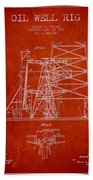 Oil Well Rig Patent From 1917- Red Bath Towel