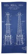 Oil Well Rig Patent From 1927 - Blueprint Bath Towel
