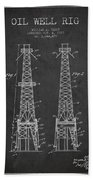 Oil Well Rig Patent From 1927 - Dark Bath Towel