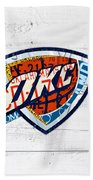 Okc Thunder Basketball Team Retro Logo Vintage Recycled Oklahoma License Plate Art Bath Towel