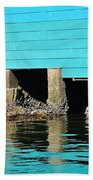 Old Aqua Boat Shed With Aqua Reflections Hand Towel
