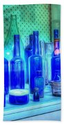 Old Blue Bottles Hand Towel