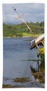 Old Boat In The Loch  Bath Towel