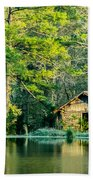 Old Cabin By The Pond Bath Towel