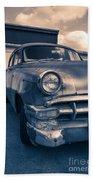 Old Car In Front Of Garage Bath Towel
