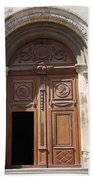 Old Church Door Cathedral Autun Bath Towel