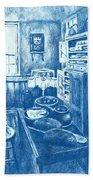 Old Fashioned Kitchen In Blue Bath Towel