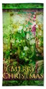 Old Fashioned Merry Christmas - Roses And Babys Breath - Holiday And Christmas Card Bath Towel